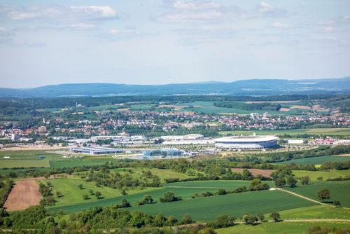 Panorama von Sinsheim mit Blick auf Badewelt Sinsheim