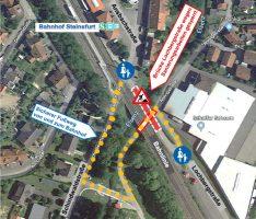 Sicherer Fußweg im Baustellenbereich Brückensanierung Lochbergstraße