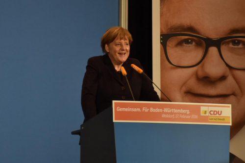 Bundeskanzlerin Merkel bei ihrem letzten Besuch in der Region (Foto: Marco Friedrich / RNA)